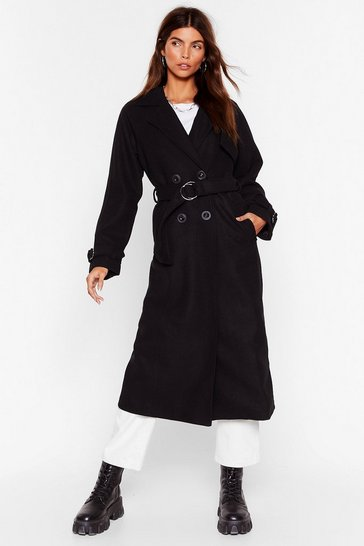 Black What Wool You Do Faux Wool Longline Coat