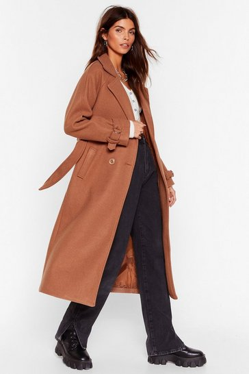 Toffee What Wool You Do Faux Wool Longline Coat