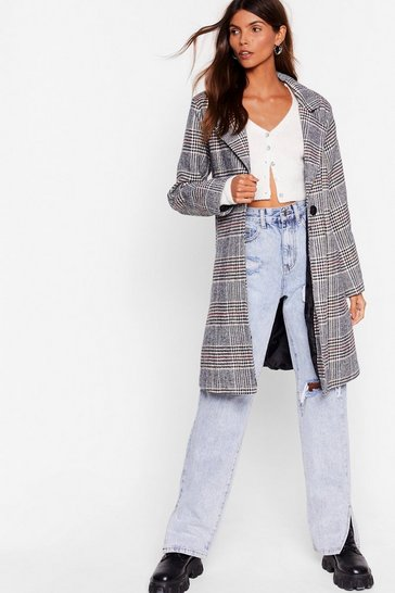 Grey Check Up on 'Em Button-Down Trench Coat