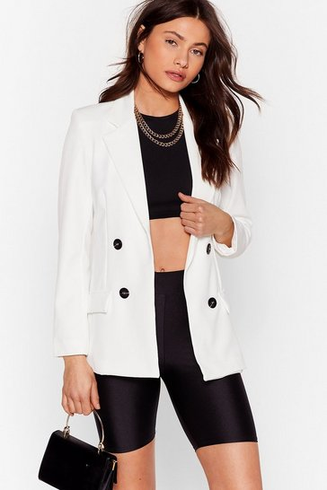 Cream It's My Business Double Breasted Longline Blazer