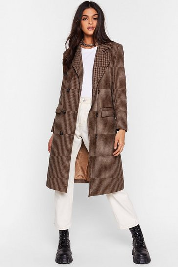 Camel Lost and Houndstooth Double Breasted Longline Coat
