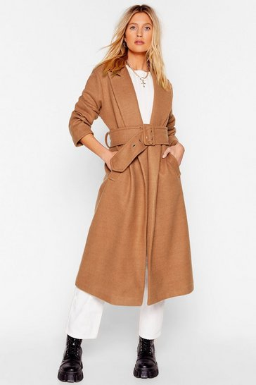 Camel Grab Your Big Coat Belted Longline Coat