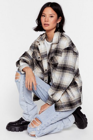 Black Check Out the Facts Relaxed Shirt Jacket