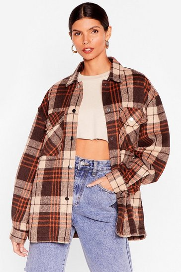 Brown Check Out the Facts Relaxed Shirt Jacket