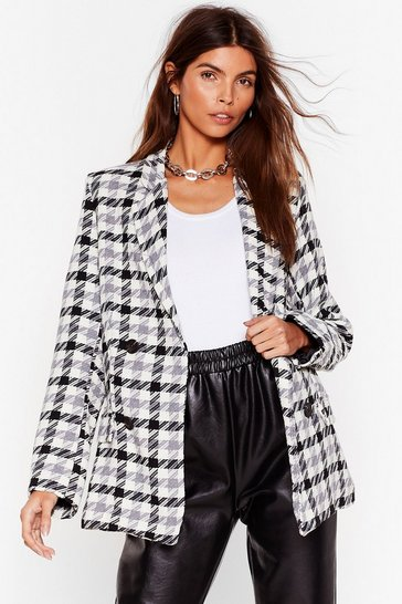 Cream Face the Houndstooth Oversized Blazer