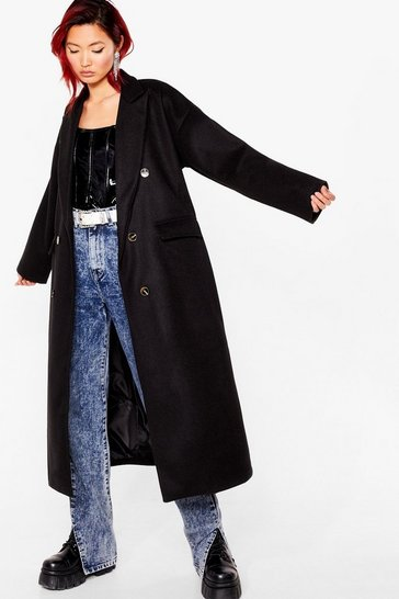 Black Double It Up Faux Wool Longline Coat