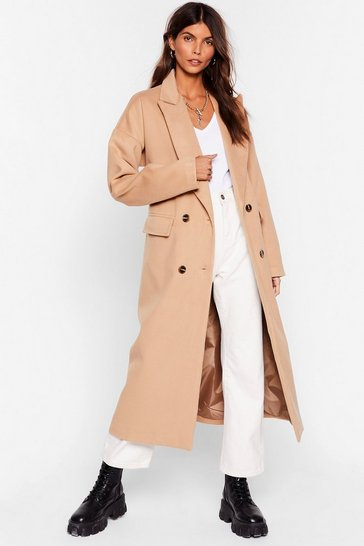 Camel Double It Up Faux Wool Longline Coat