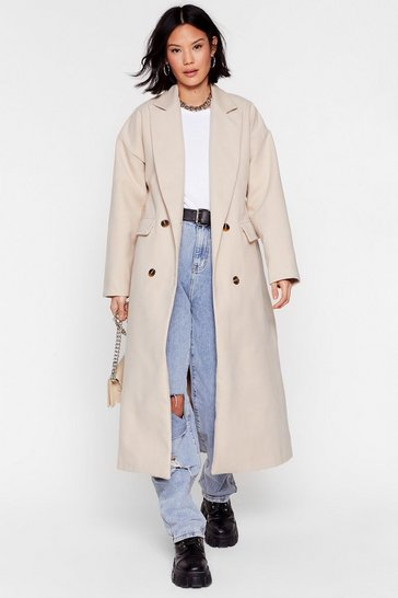 Cream Double It Up Faux Wool Longline Coat