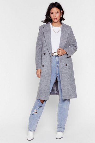 Grey Wool You Be Mine Longline Faux Wool Coat