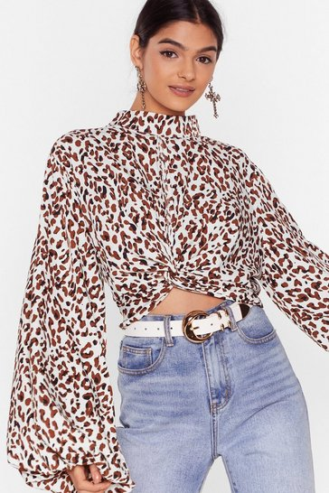 Cream The Wild Bunch Leopard Balloon Sleeve Blouse