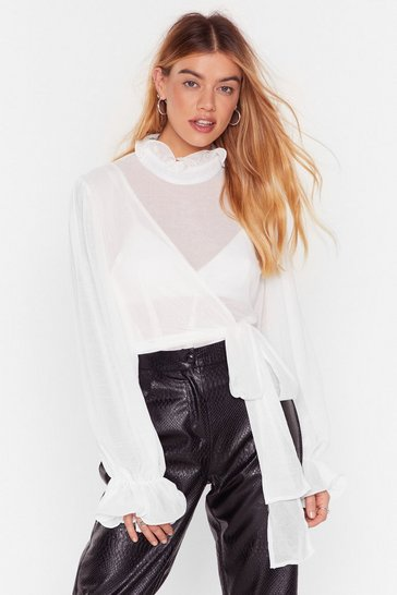 White Tie Ruffle High Neck Blouse with Wrap Design