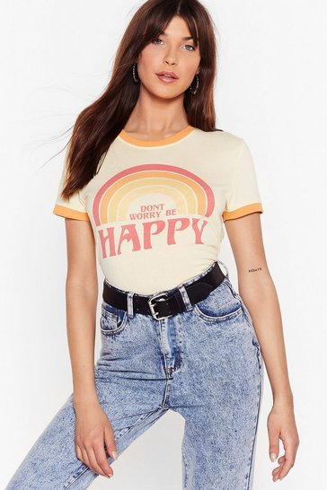 Yellow Don't Worry Be Happy Graphic Ringer Tee