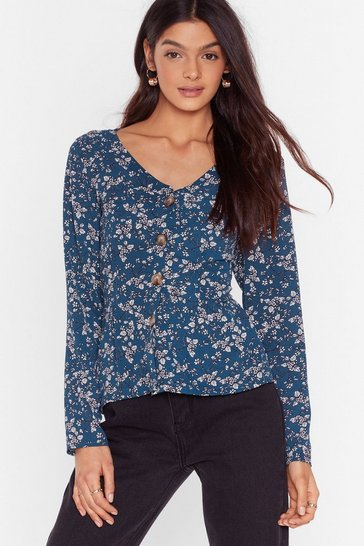 Navy Plant Be Friends Floral Button-Down Blouse