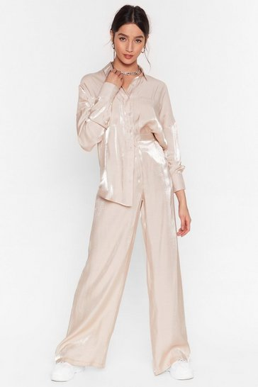 Champagne Heart of Glass Wide-Leg Pants