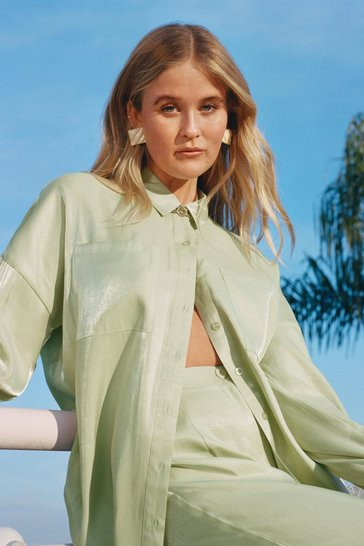 Mint Your Shine is Now Satin Button-Down Shirt