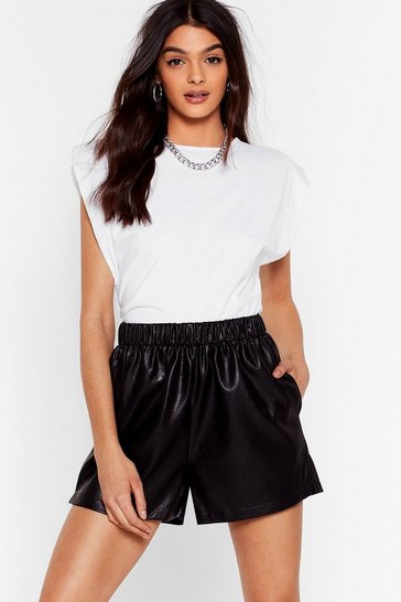 Black Hey There Shorty High-Waisted Faux Leather Shorts