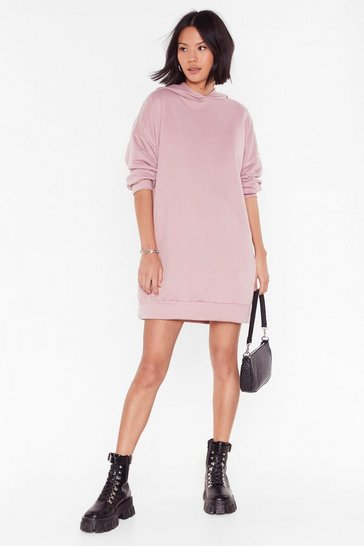 Mauve Chills Ville Relaxed Hoodie Dress