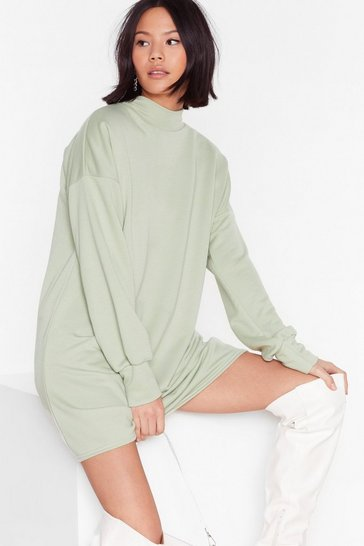 Sage We Got This High Neck Sweatshirt Dress