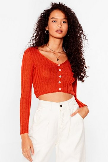 Orange No Chills Cropped Button-Down Cardigan