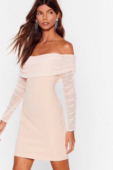Nude We Mesh You Off-the-Shoulder Mini Dress