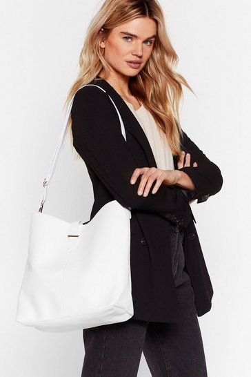 White Large Strap Tote Bag with Buckle Closure