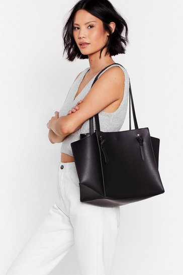 Black WANT The Bigger the Better Knot Tote Bag