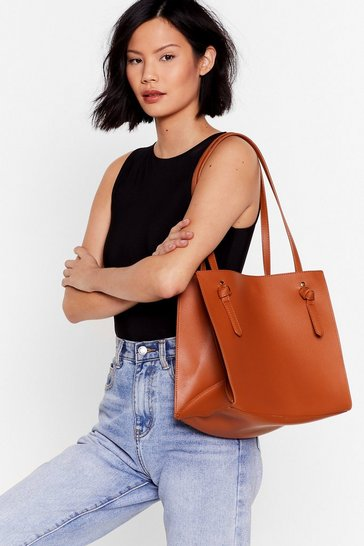 Tan WANT The Bigger the Better Knot Tote Bag