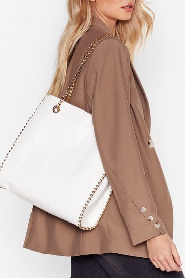 White WANT Tell Me About It Stud Tote Bag