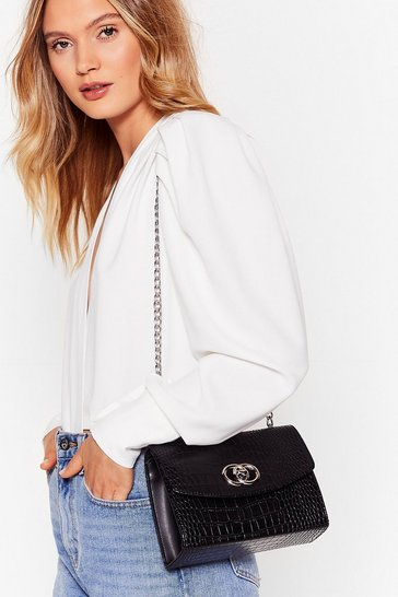 Black Croc Today Faux Leather Crossbody Bag
