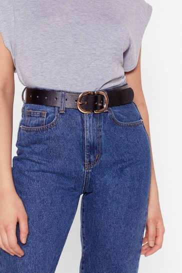 Black Circle Double Buckle Belt with Two D-Ring Buckle Closures