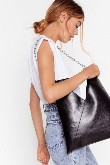 Black Chain Faux Leather Tote Bag