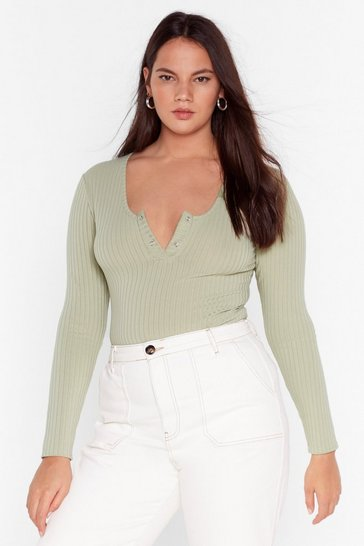 Sage Snap to It Ribbed Plus Bodysuit