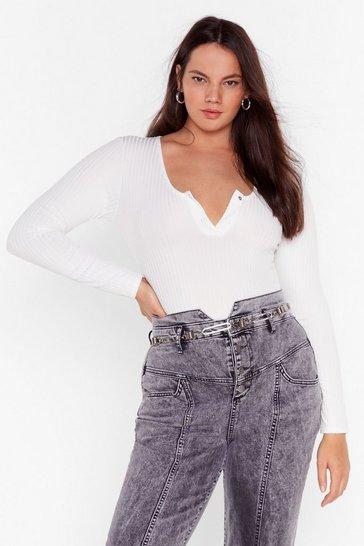 White Snap to It Ribbed Plus Bodysuit