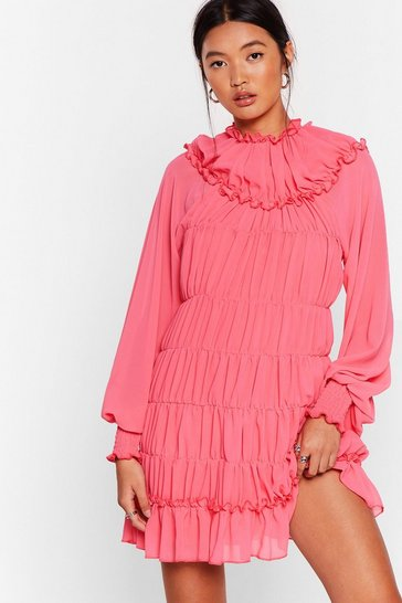 Pink Tier She Comes Chiffon Mini Dress