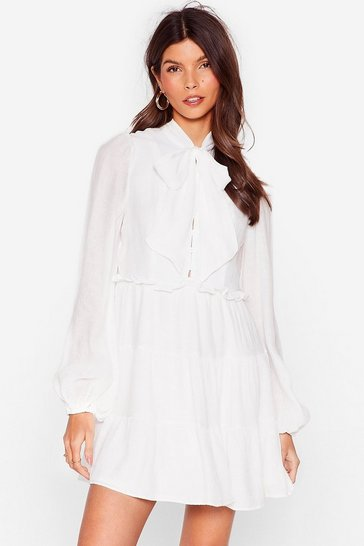 White Textured Long Sleeve Bow Mini Dress