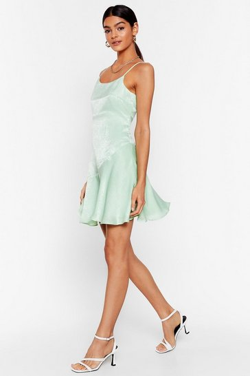 Mint So Vain Satin Cami Dress