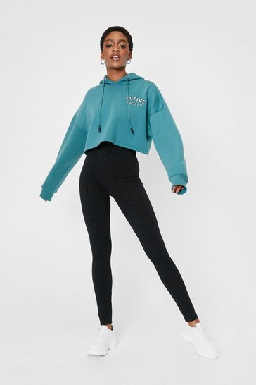 Black Call Rib Even High-Waisted Leggings