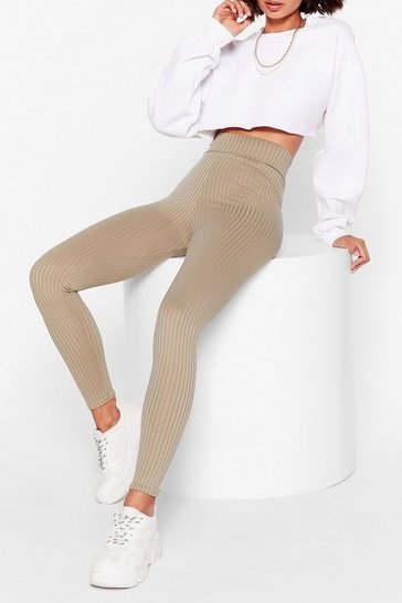 Khaki Call Rib Even High-Waisted Leggings