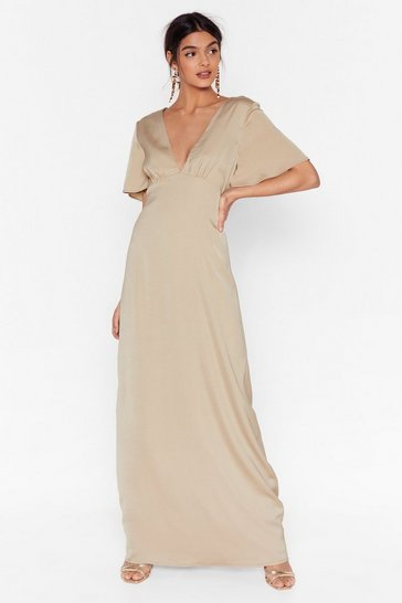 Almond Oh We Didn't V You There Satin Maxi Dress
