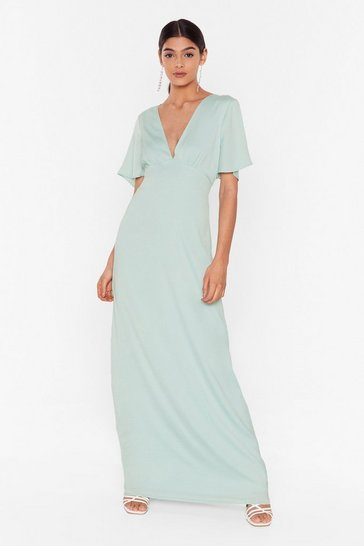 Mint Oh We Didn't V You There Satin Maxi Dress