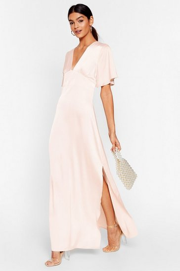 Blush We Didn't V You There Satin Maxi Dress