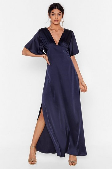 Navy We Didn't V You There Satin Maxi Dress
