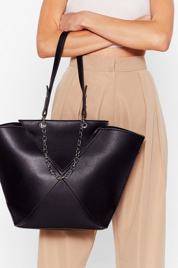 Black WANT Big News Faux Leather Tote Bag