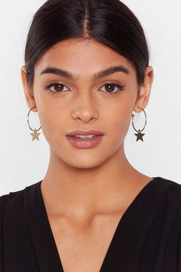 Gold Thank Your Lucky Stars Hoop Earrings