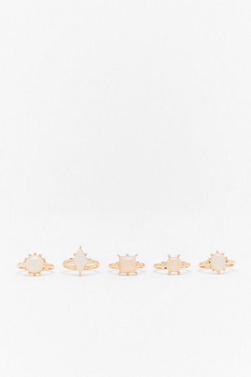 Gold Set in Stone 5-Pc Ring Set