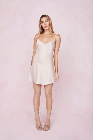 Champagne Satin V Neck Mini Slip Dress