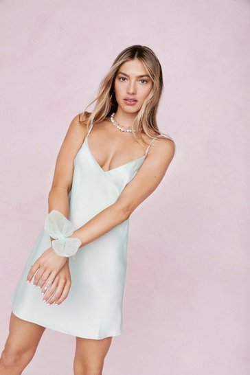 Mint Satin Slip Mini Dress