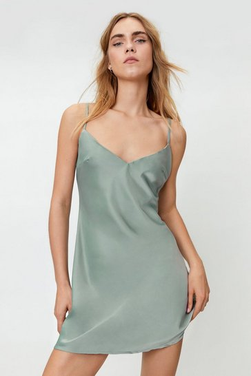 Sage Satin Slip Mini Dress