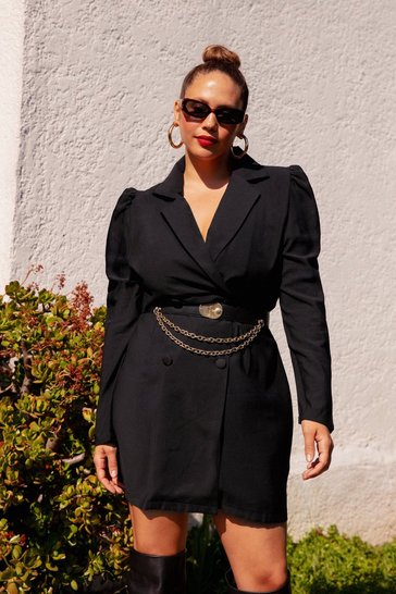 Grande Taille - Robe blazer ceinturée à manches bouffantes The boss of the boss, Black