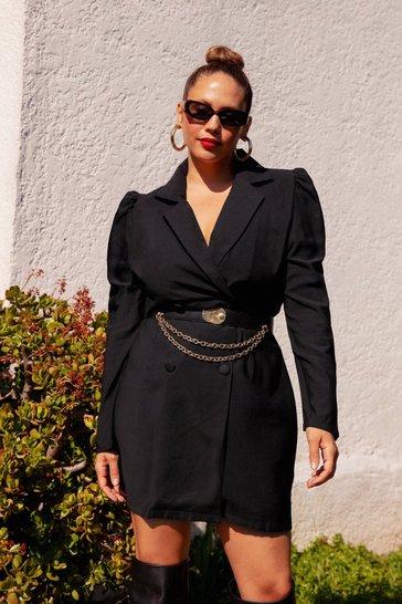Black Plus Size Blazer Dress with V-Neckline
